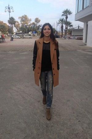 asos coat - Mango boots - River Island jeans - Zara jumper