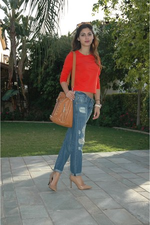orange asos bag - blue Mango jeans - brown Ray Ban sunglasses - neutral heels