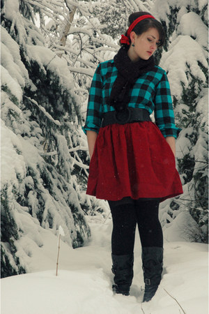 black Target boots - turquoise blue handmade shirt - red vintage scarf - black T
