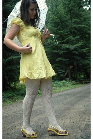 yellow dress - white Forever21 tights - yellow modcloth shoes