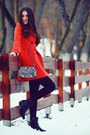 Carrot-orange-coat-black-boots-dark-brown-tights