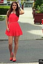 coral dress - coral heels