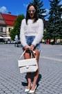 Off-white-zara-bag-sky-blue-sheinside-shorts-ivory-h-m-blouse