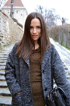 black Zara boots - bronze Mango dress - heather gray H&M coat - black Zara bag