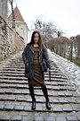 Black-zara-boots-bronze-mango-dress-heather-gray-h-m-coat-black-zara-bag
