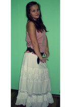 white cotton random skirt - light pink BLANCO shirt - random belt