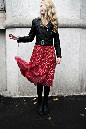 H&M boots - vintage dress - H&M jacket - Calzedonia tights