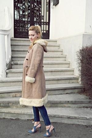 vintage coat - Mango jeans - emporio armani heels