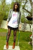 SANDRO shirt - SANDRO dress - Maje blazer - H&M leggings - Kookai shoes