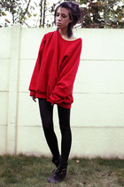 red oversized American Apparel sweater - black Topshop boots