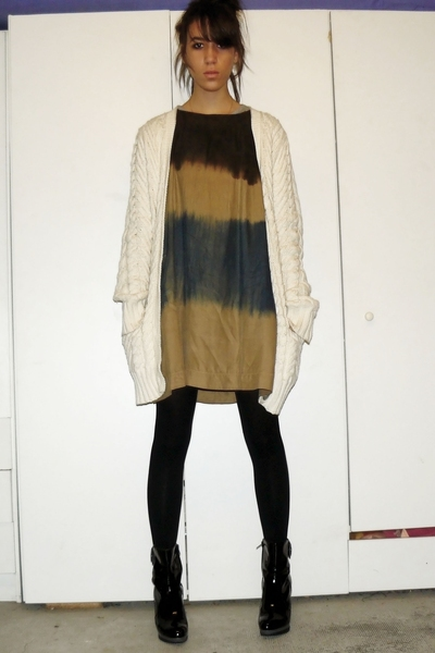 Ralph Lauren sweater - SANDRO dress - mellow yellow shoes