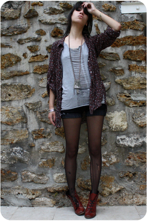  top - Maje shirt - Mango shorts - Topshop boots