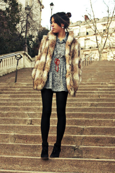 beige faux fur H&M coat - black Creeks shoes - gray American Apparel dress