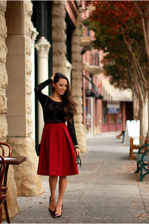 red skirt - black blouse