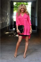 hot pink shirt - black skirt