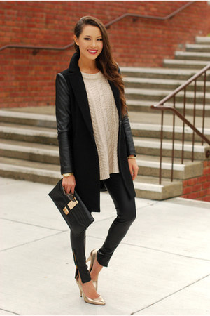 black coat - eggshell sweater