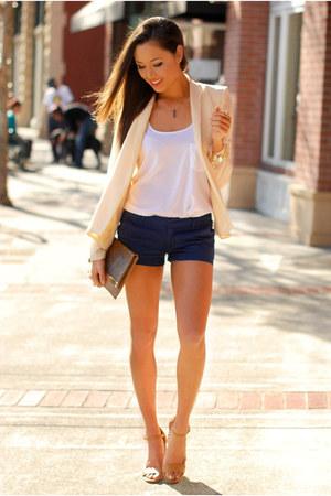 cream coat - ivory shirt - navy shorts