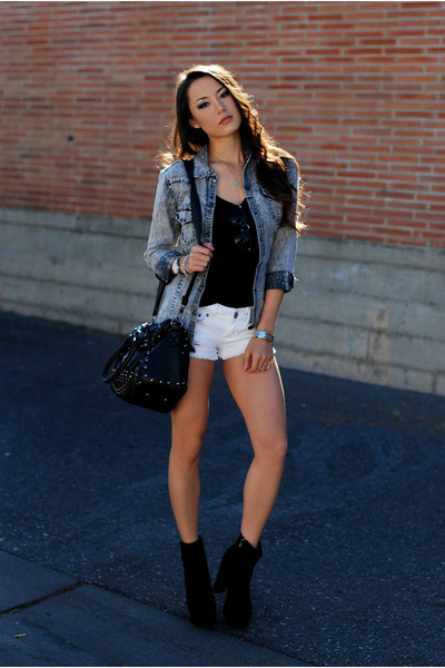 Heather Gray Denim Jackets, White Denim Shorts, Black Tops ...