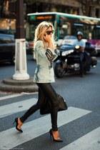 black heels - sky blue jacket - black pants