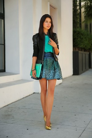 aquamarine top - black leather jacket