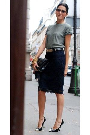 charcoal gray shirt - black skirt