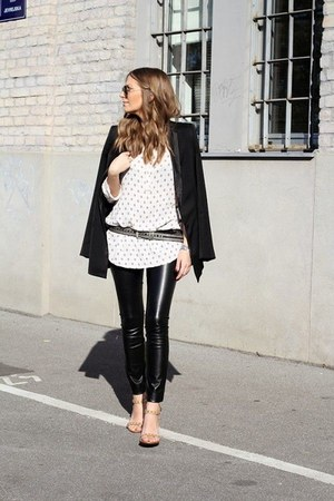 black coat - black leggings - white blouse