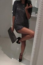 silver Bershka dress - silver pull&bear purse - black heels