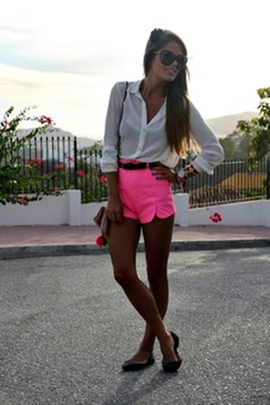 hot pink shorts - white shirt
