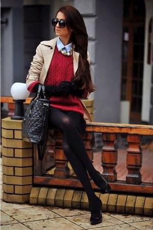 tan coat - brick red sweater - black stockings