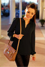 Dark-gray-shirt-bronze-purse-black-pants