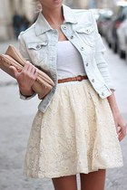 eggshell skirt - light blue jacket - bronze belt - white top