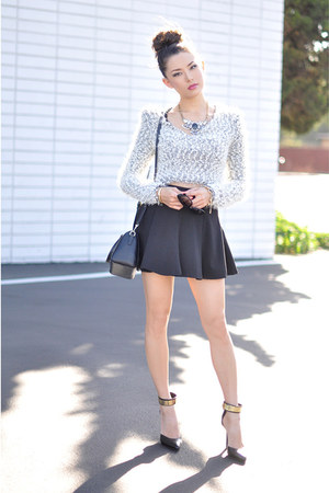 dark gray skirt - periwinkle sweater
