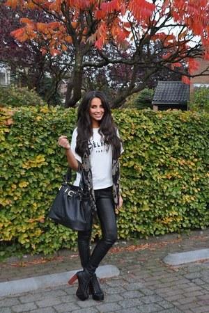 black pants - ivory shirt