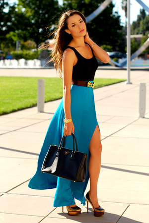 black Prada bag - black top - turquoise blue skirt