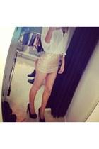 Stradivarius skirt - shirt - bra - heels