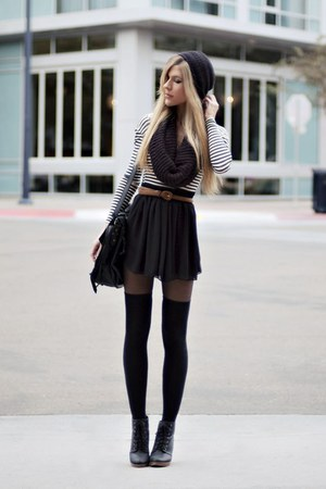 black scarf - black skirt - tawny belt