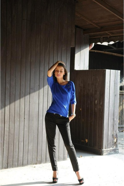 "Black Pants, Blue Blouses, Black Heels | ""casual "" by Adnana ..."