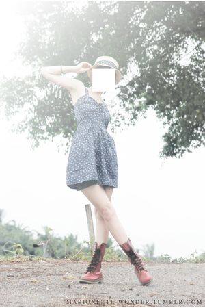 blue dress - red Martens boots - beige hat - black accessories