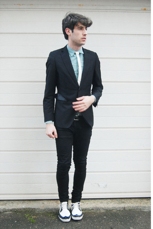 black H&M blazer - white Topshop tie - green Topshop shirt - white REPLAY shoes