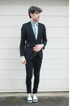 black H&M blazer - white Topshop tie - green Topshop shirt - white REPLAY shoes
