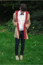 vintage coat - united colors of benetton t-shirt - H&M tie - Topman belt - april