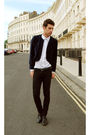 Black-jeans-blue-jacket-white-shirt
