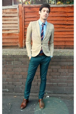 dark brown Reiss shoes - tan Topman blazer - sky blue Reiss shirt