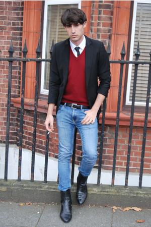 H&M blazer - Zara sweater - Carolina Herrera shirt - Topman jeans - vintage tie
