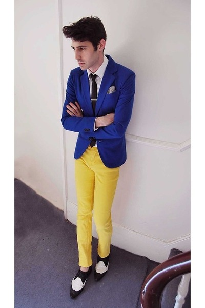 yellow pants - blue blazer