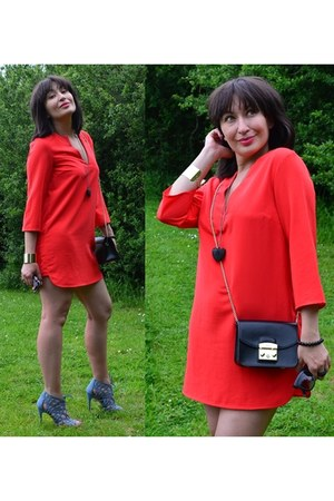 red H&M dress - black Furla bag - turquoise blue new look sandals