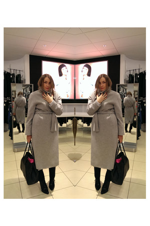 heather gray wool COS coat - black leather Alexander Wang boots