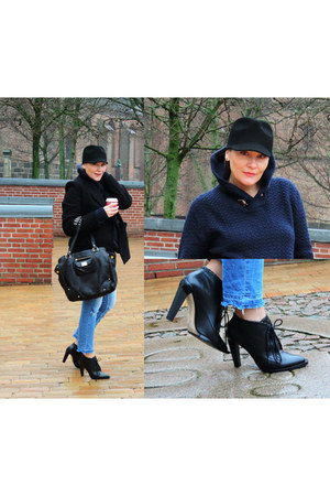 navy H&M sweater - black Alexander Wang boots - blue GINA TRICOT jeans