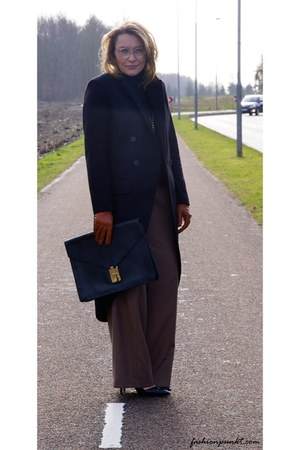 brown Bally pants - black H&M cape - black Zara heels - E&E glasses