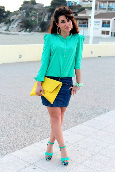 aquamarine Primark shoes - yellow asos bag - navy H&amp;M skirt